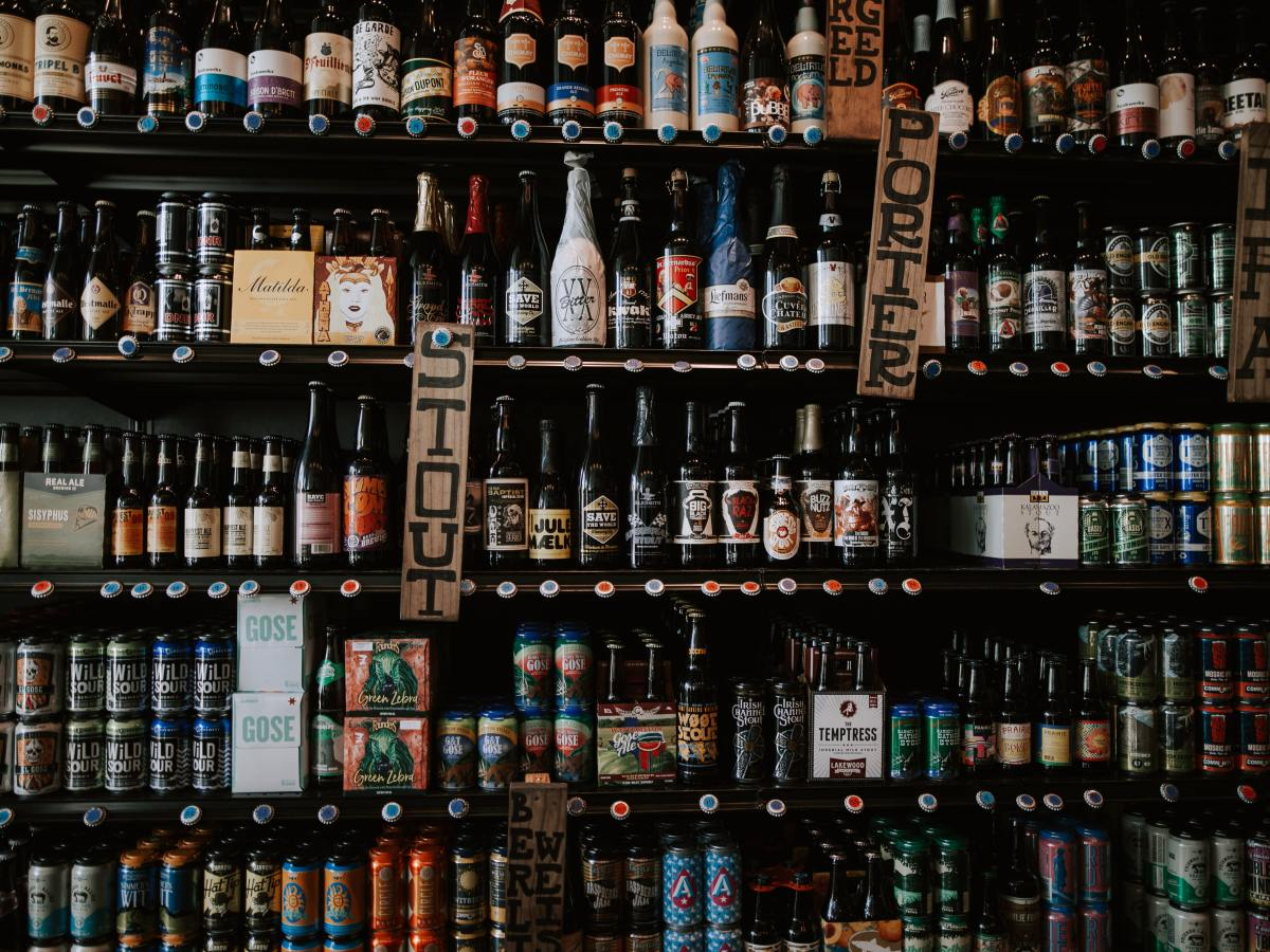 Beer bottle shop shelves